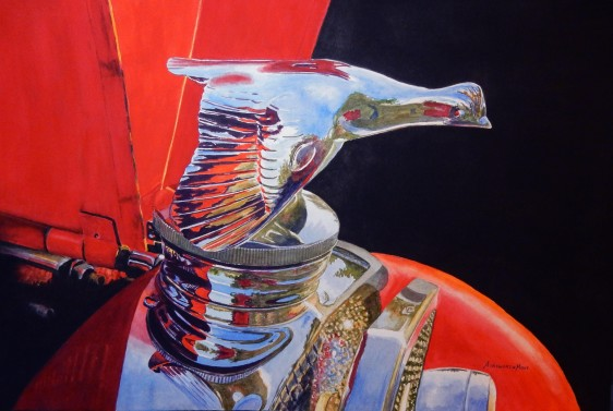 Classic Ford Hood Ornament by Gloria Ainsworth Mout, 14.5x21.5, Watercolour