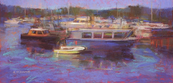 Salt Spring Boats by Andrew McDermott, 14x28, Pastel