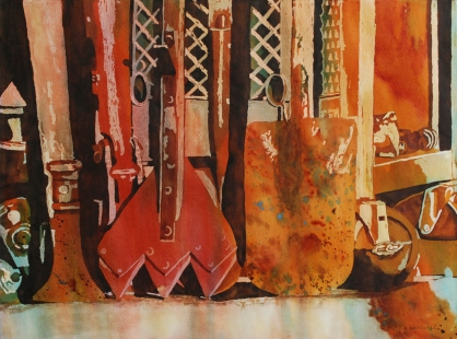 Rusting the Time Away - Watercolour by Audrey Bakewell
