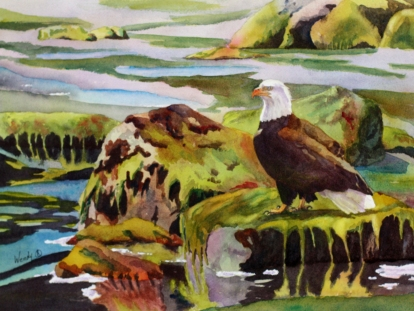 The Hunter Waits - Watercolour by Wendy Mould, AFCA